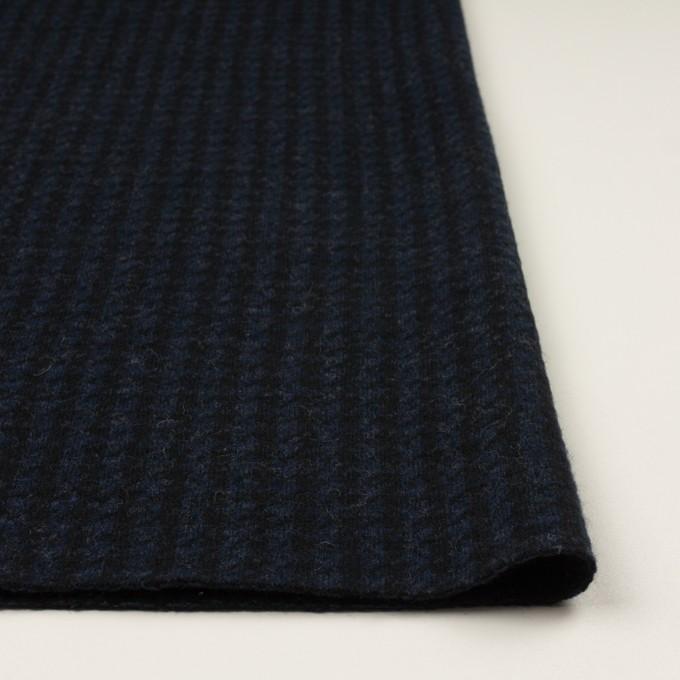 ウール&ナイロン×千鳥格子(ネイビー&ブラック)×ジャガードニット_全2色 イメージ3