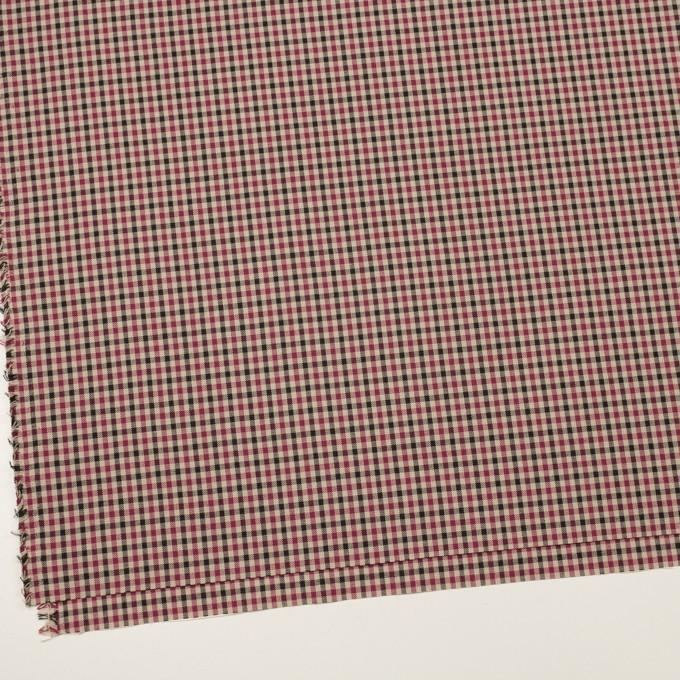 ポリエステル&レーヨン×チェック(ライトベージュ、ワイン&チャコール)×ポプリン イメージ2