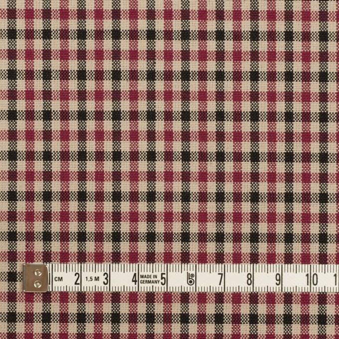 ポリエステル&レーヨン×チェック(ライトベージュ、ワイン&チャコール)×ポプリン イメージ4